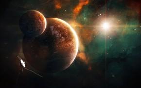 Картинка Звезды, Планета, Космос, Туманность, Звезда, Планеты, Planets, Star, Арт, Stars, Space, Блик, Art, Спутник, Planet, …