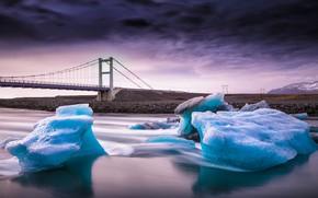 Картинка мост, река, лёд