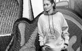 Картинка модель, черно-белое, Gigi Hadid