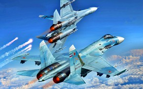 Картинка Пара, многоцелевой, высокоманевренный, ВКС России, всепогодный истребитель-перехватчик, самолет завоевания превосходства в воздухе, Cу-27