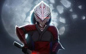 Картинка девушка, оружие, маска