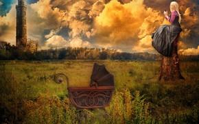 Картинка поле, девушка, замок, башня, коляска