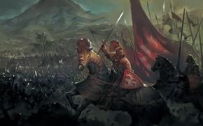 Картинка люди, лошади, войско
