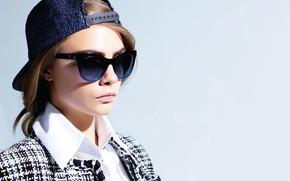 Картинка поза, модель, актриса, очки, model, hair, pose, actress, Cara Delevingne, Кара Делевинь