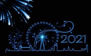 Картинка звезды, дизайн, город, Лондон, вектор, Великобритания, Новый год, колесо обозрения, фейерверк, черный фон, силуэты, Лондонский …