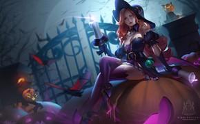 Картинка девушка, ночь, свеча, шляпа, тыква, ведьмы, хеллоуин, League Of Legends, Miss Fortune