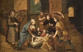 Картинка масло, картина, мифология, Поклонение Пастухов, 1699, Marten de Vos, Мартин де Вос