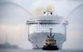 Картинка Лайнер, Судно, Нос, Техника, Royal Caribbean International, Бак, Пассажирское судно, Пассажирский лайнер, Буксир, Vessel, Cruise …