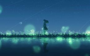 Картинка вода, девушка, ночь, светлячки