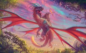 Картинка colorful, moon, fantasy, horns, trees, weapon, nature, wings, planet, dragon, artist, digital art, artwork, warrior, …
