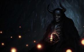 Картинка ночь, свеча, скелет, нежить