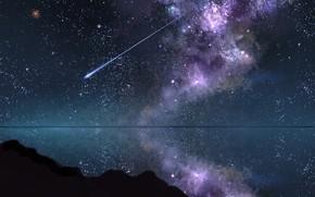 Картинка небо, вода, ночь, падающая звезда