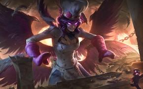 Картинка fire, girl, fantasy, game, wings, angel, League of Legends, digital art, artwork, dark angel, fantasy …