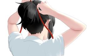 Картинка девушка, спина, хвост, красная лента, Твоё Имя, Kimi No Na Wa