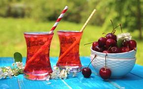 Картинка вишня, стакан, лимонад