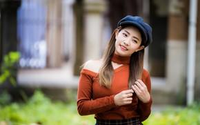 Картинка девушка, волосы, кепка, кофточка, азиатка, боке