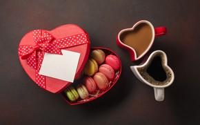 Картинка коробка, кофе, чашки, сердечко, macaron