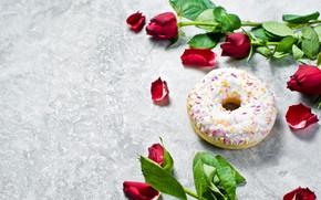 Картинка цветы, розы, лепестки, пончики, выпечка, глазурь