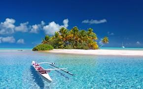 Картинка Paradise, Blue, Wallpaper, Summer, Ocean, Island, Boat