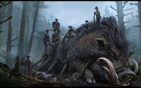 Картинка убийство, охота, зверь, кабан, Hunting