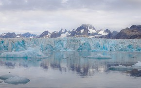 Картинка холод, зима, море, вода, снег, горы, отражение, берег, лёд, ледник, льдины, глыбы, айсберги, Гренландия