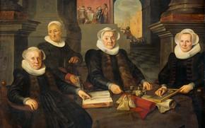 Картинка масло, портрет, картина, 1624, Werner van den Valckert, Вернер ван ден Валькерт, Три регентши и …
