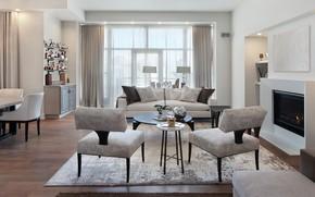 Картинка цветы, дизайн, диван, мебель, окно, камин, шторы, гостиная