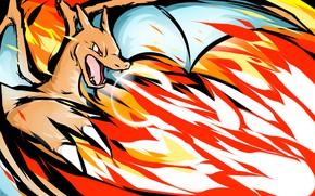 Картинка огонь, дракон, Покемон, Чаризард