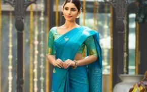 Картинка girl, fashion, eyes, smile, beautiful, model, lips, face, hair, pose, indian, makeup, saree, sari, traditional