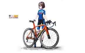 Картинка Девушка, Белый фон, Велосипед