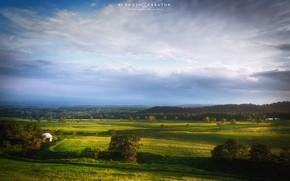 Картинка поле, лес, небо, горы, природа