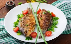 Картинка зелень, Рыба, помидоры