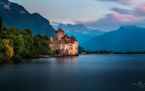 Картинка горы, озеро, замок, Switzerland, Швейцарии, Chillon, фотограф Brent Goldman