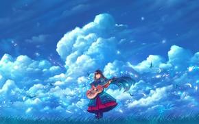 Картинка небо, девушка, облака, птицы, гитара