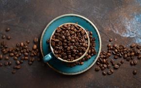 Картинка фон, чашка, кофейные зерна