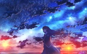 Картинка закат, город, школьница, звездное небо