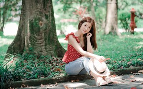 Картинка девушка, парк, азиатка, милашка