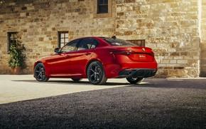 Картинка Красный, Alfa Romeo, Red, Car, Автомобиль, Альфа Ромео, Giulia