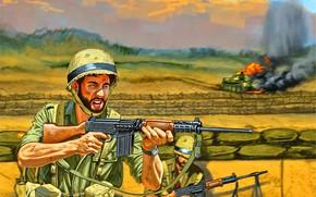 Картинка Солдат, Винтовка, FN FAL, Армия обороны Израиля, IMI Romat