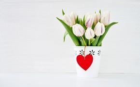 Картинка праздник, букет, тюльпаны, день влюбленных, кашпо