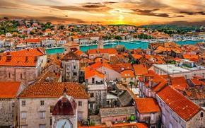 Картинка море, дома, крыши, Хорватия, Трогир