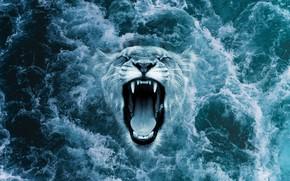 Картинка волны, пена, фантазия, океан, оскал, ocean, рык, бросок, leon, roar, из воды, морда льва