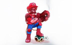 Картинка Gun, Art, Mario, Concept Art, Minimalism, Characters, Super Mario, by Kevin Zapata, Steampunk Mario & …