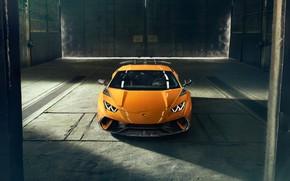 Обои Lamborghini, вид спереди, 2018, Performante, Novitec, Huracan