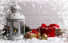 Картинка зима, снег, украшения, Новый Год, Рождество, фонарь, подарки, Christmas, winter, snow, Merry Christmas, gift, decoration, …