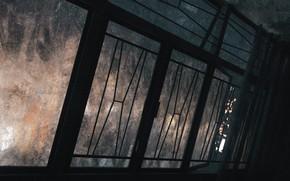 Картинка вечер, окно, коридор