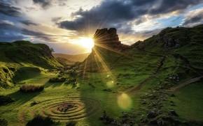 Картинка закат, Шотландия, Scotland, Isle of Skye