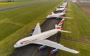 Картинка Лайнер, A380, Airbus, Стоянка, ВПП, Авиалайнер, British Airways, Airbus A380, A380-800, Airbus A380-800