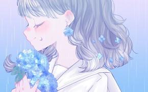 Картинка цветы, девочка, гортензия
