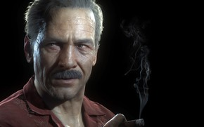Картинка усы, фон, сигара, мужчина, чёрный фон, Uncharted 4: A Thief's End